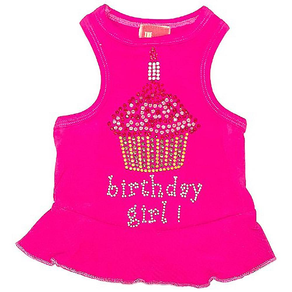 Birthday Girl Cupcake Rhinestone Dog Dress - Raspberry Pink