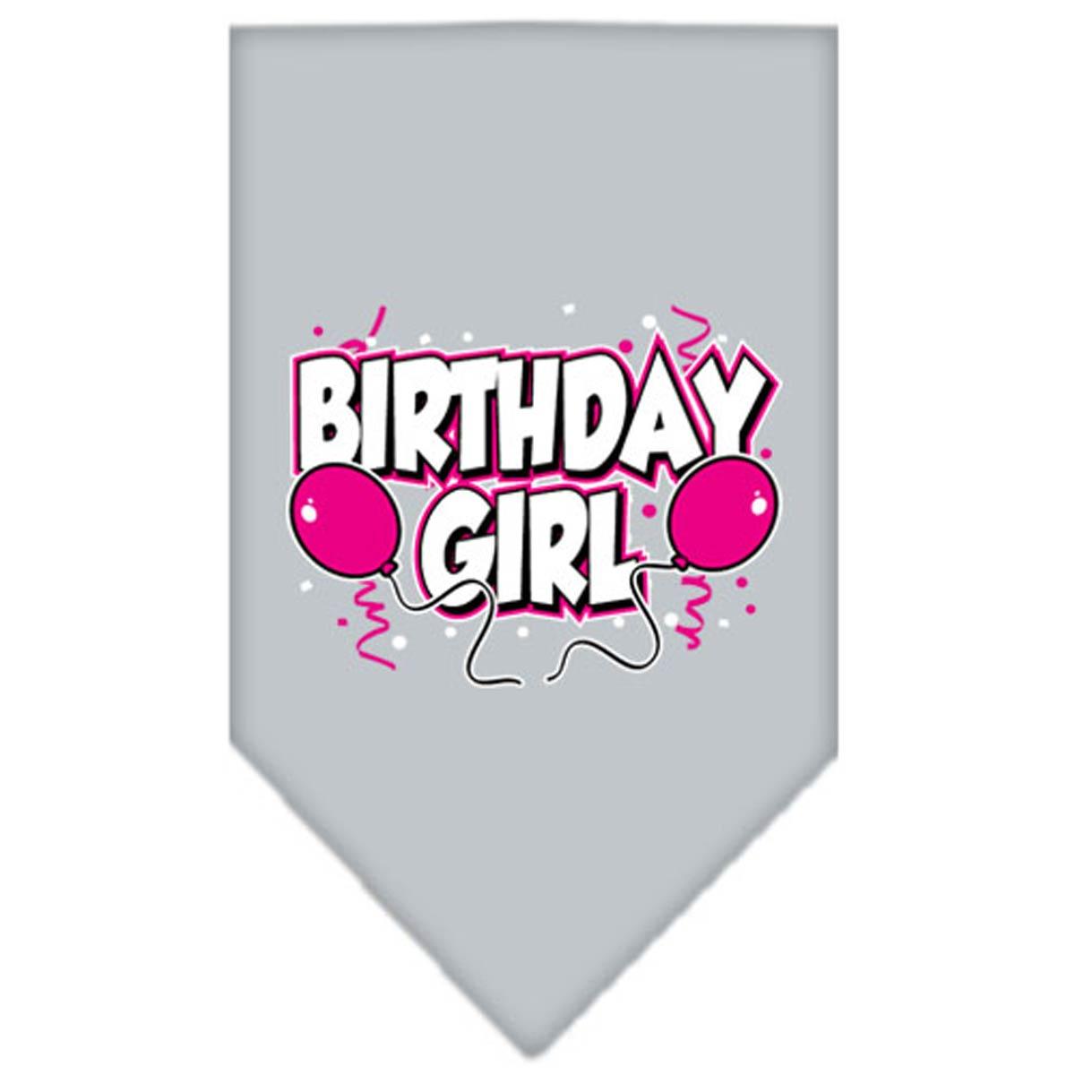 Birthday Girl Screen Print Dog Bandana - Gray