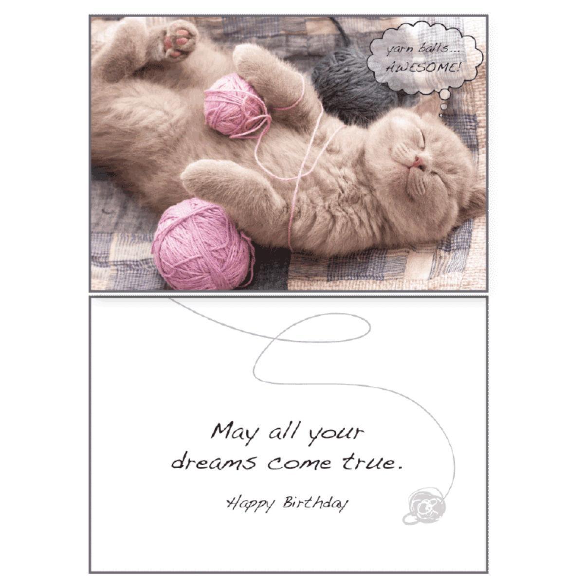 Birthday Greeting Card by Dog Speak - Yarn Balls...Awesome!