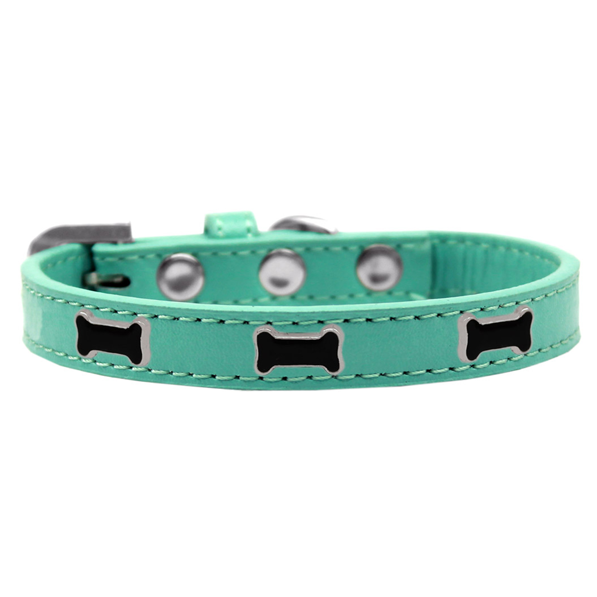 Black Bone Widget Dog Collar - Aqua