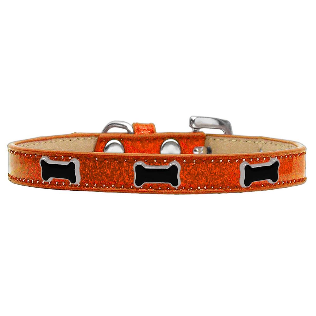 Black Bone Widget Dog Collar - Orange Ice Cream