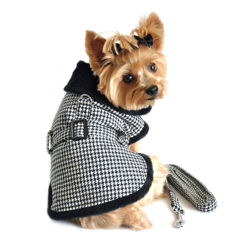Black and White Classic Houndstooth Dog Harness Coat with Leash by Doggie Design