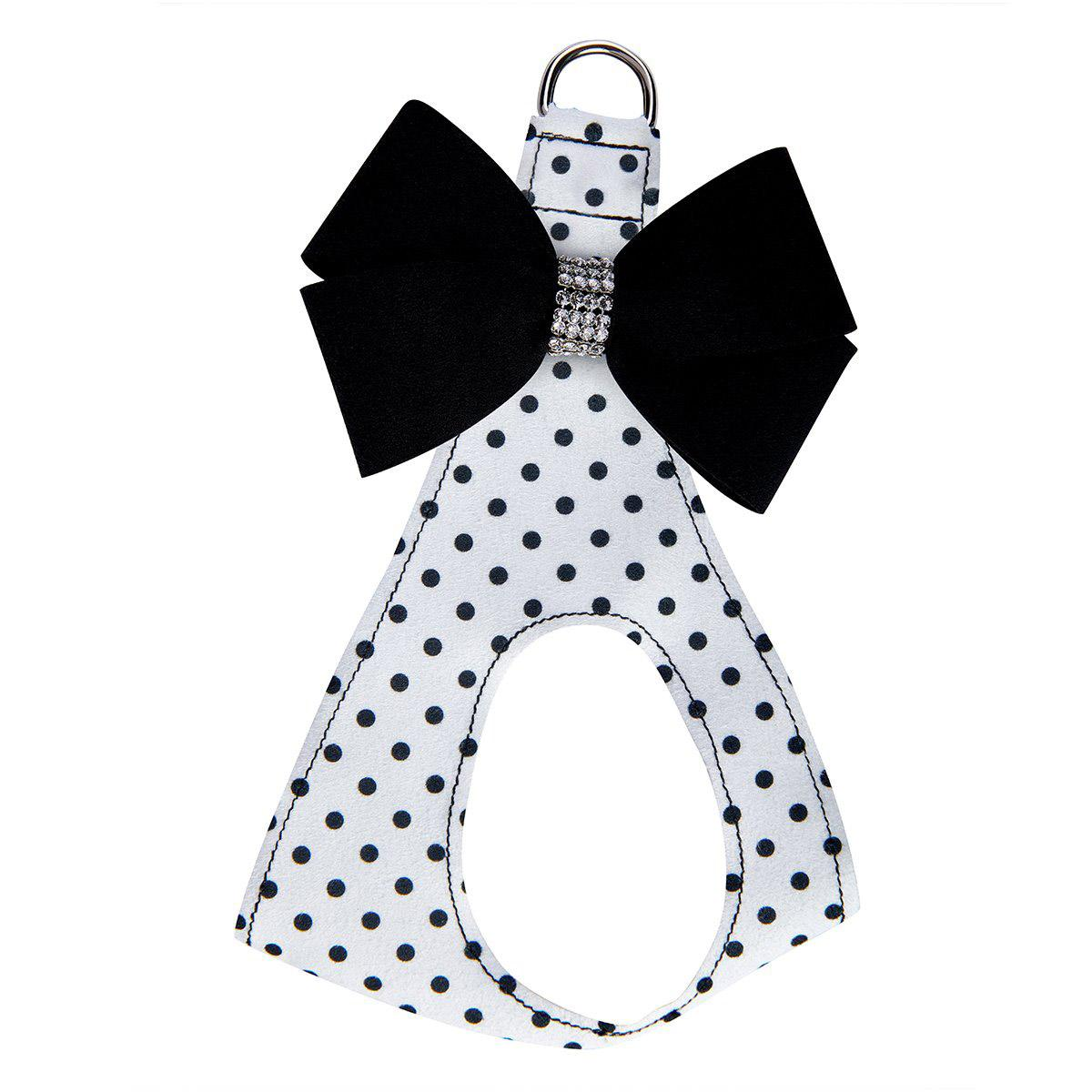 Black & White Nouveau Bow Polka Dot Step-In Dog Harness by Susan Lanci - Black Bow