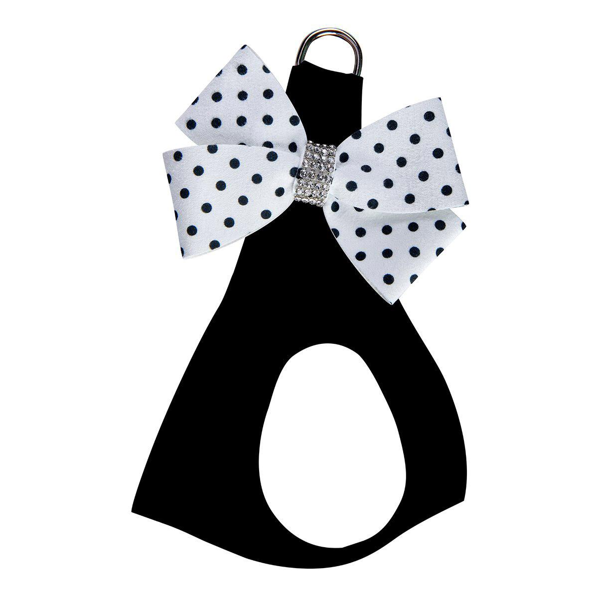 Black & White Nouveau Bow Polka Dot Step-In Dog Harness by Susan Lanci - Polka Dot Bow