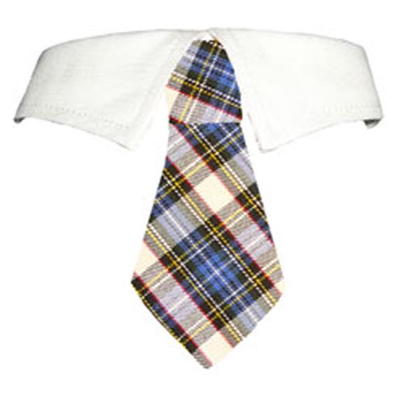 Blake Dog Shirt Collar and Tie - Blue and Yellow Plaid