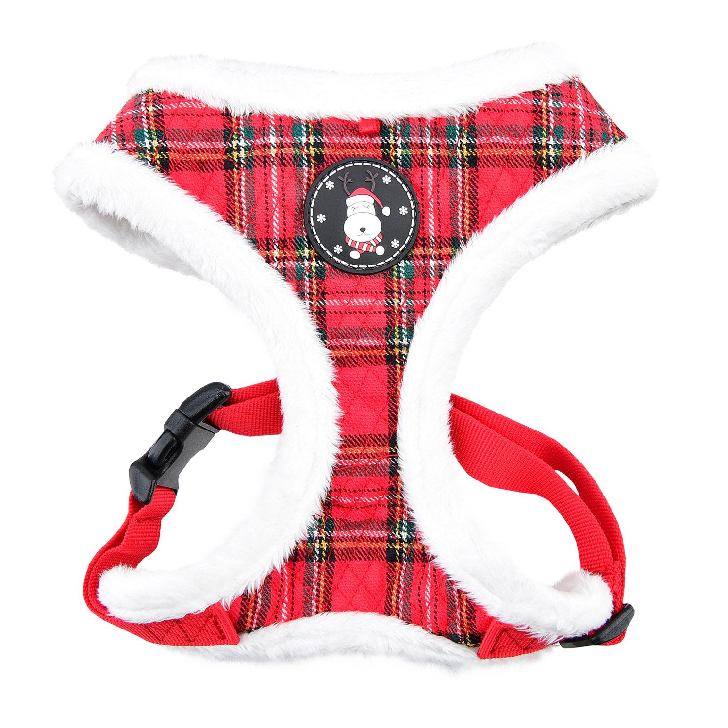 Blitzen Basic Style Dog Harness By Puppia - Red Plaid
