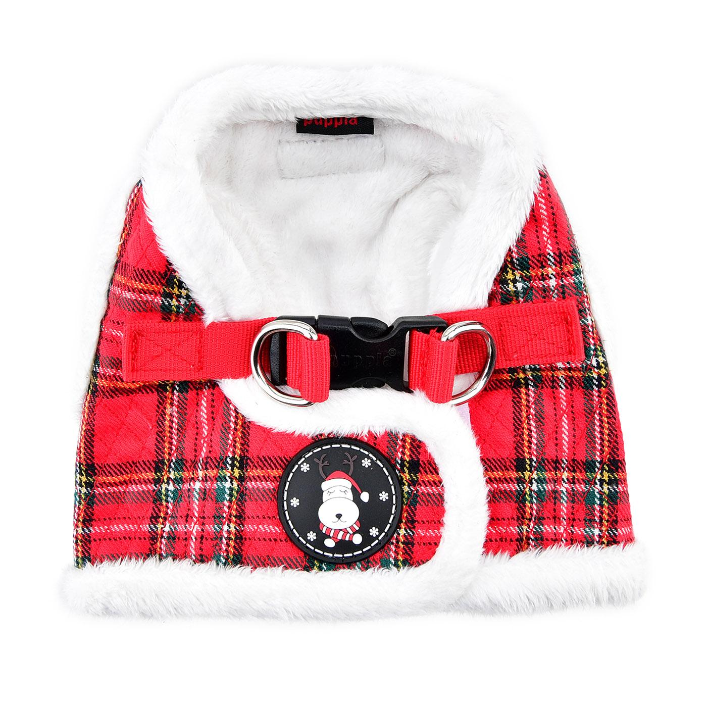 Blitzen Dog Harness Vest By Puppia - Red Plaid