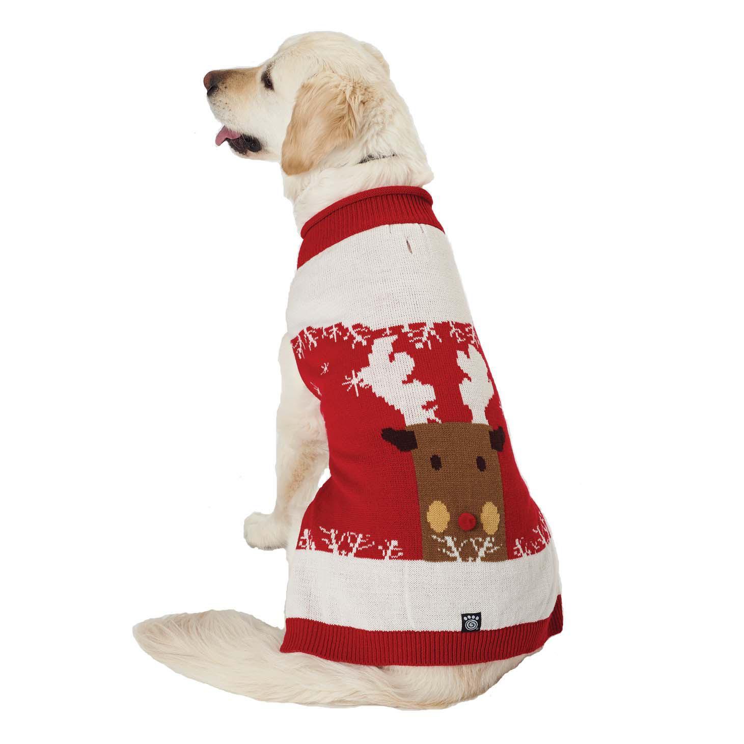 Blitzen's Sparkle Reindeer Dog Sweater - Red