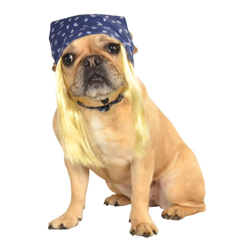 Blue Bandana with Hair Dog Costume