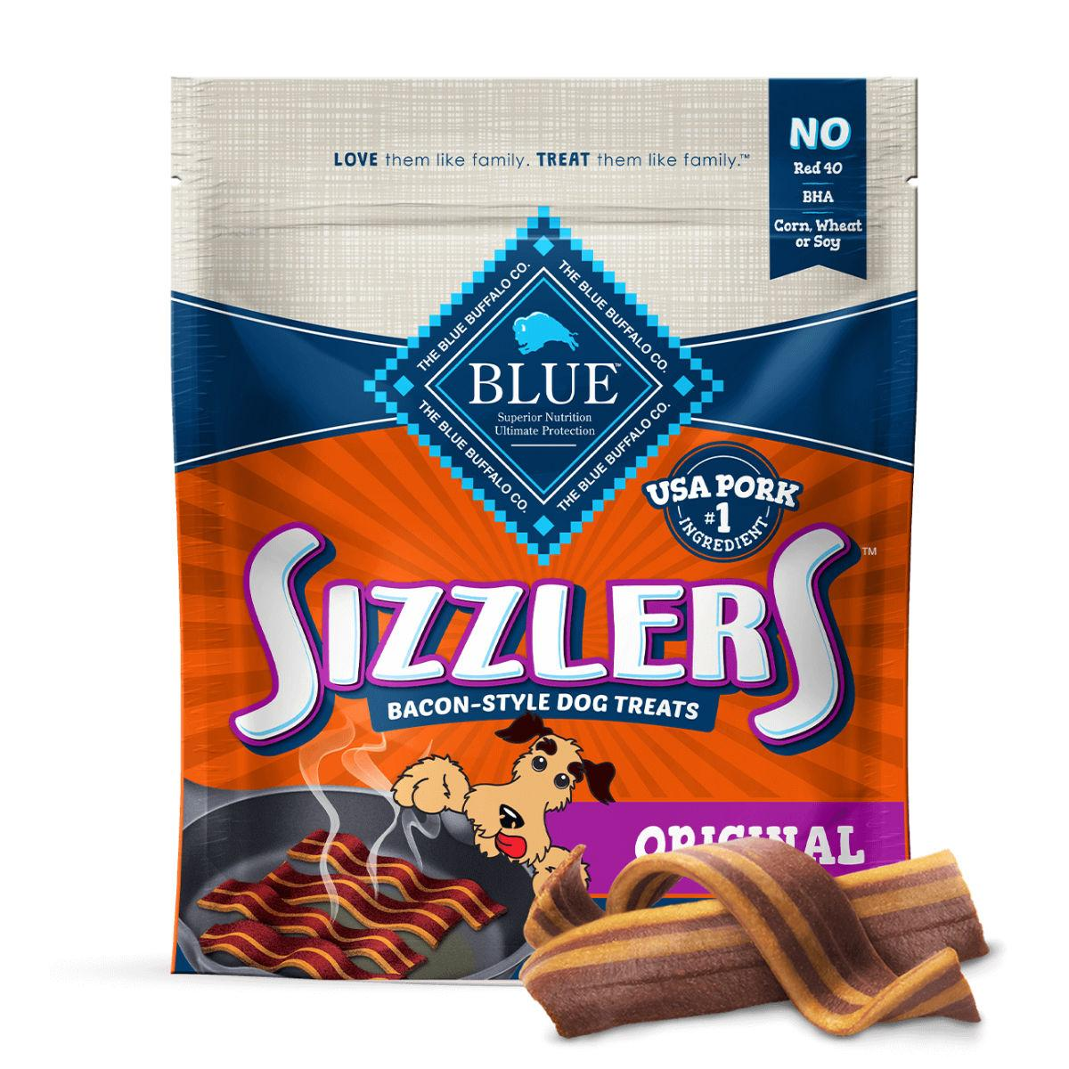 Blue Buffalo Sizzlers Dog Treat - Original Bacon Style