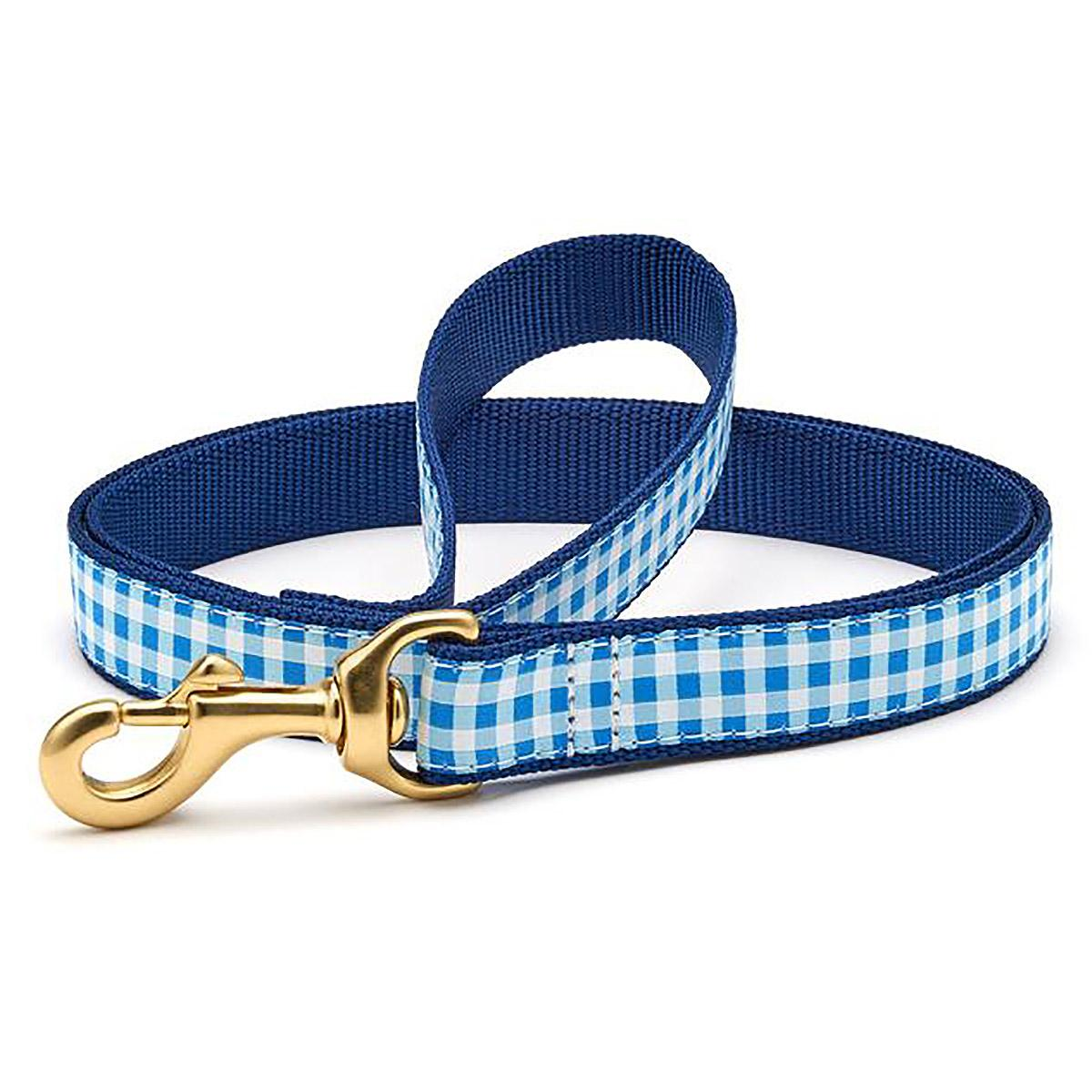Blue Gingham Dog Leash by Up Country
