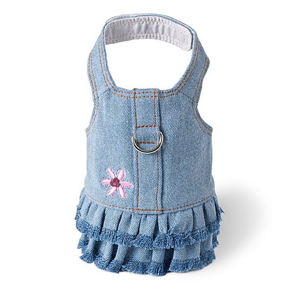 Blue Jean Denim Flower Dress Dog Harness by Doggles