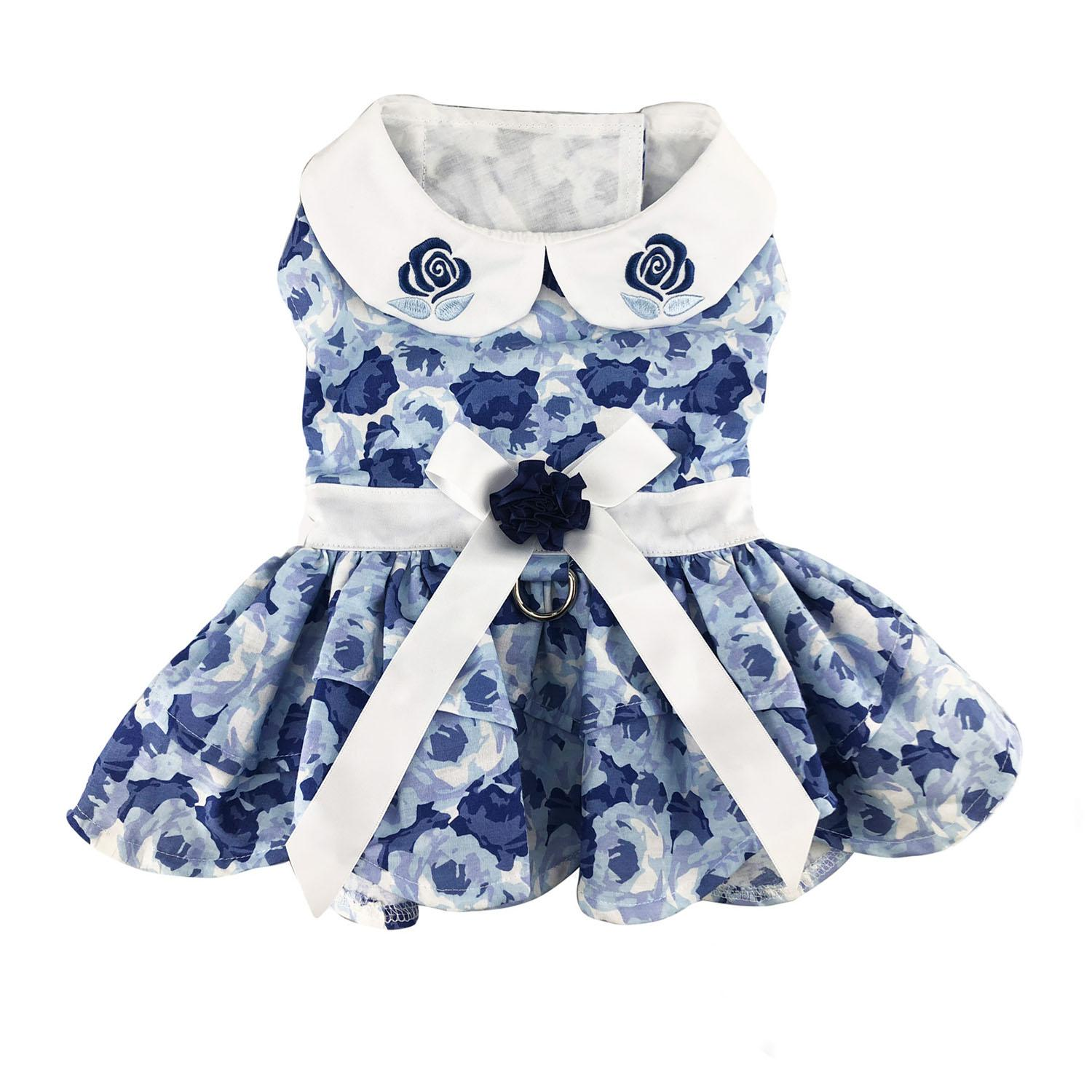 Blue Rose Dog Harness Dress with Matching Leash by Doggie Design