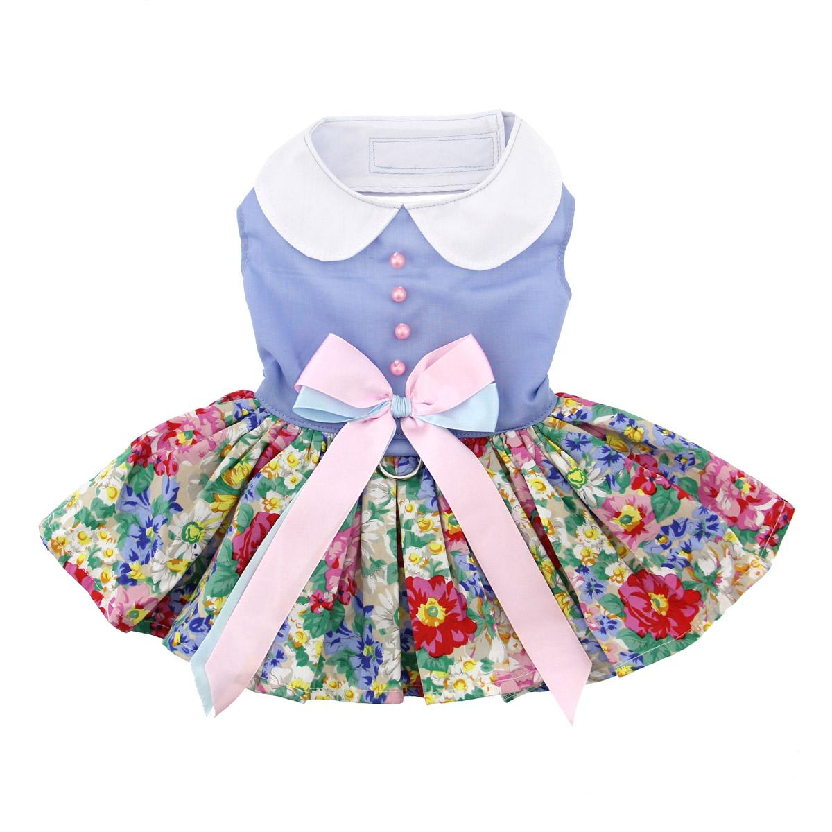 Powder Blue and Pearls Floral Dog Harness Dress by Doggie Design