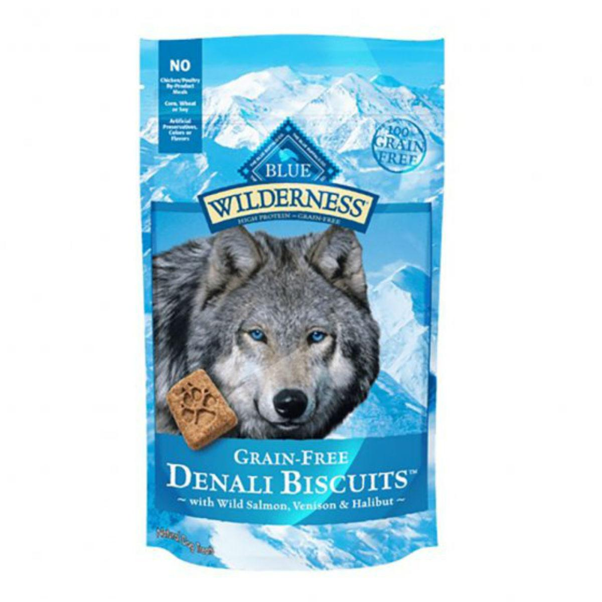 Blue Buffalo Wilderness Denali Biscuits Dog Treats - Wild Salmon, Venison & Halibut