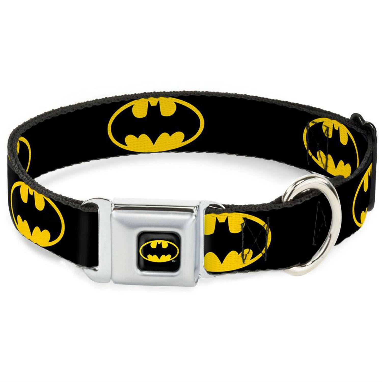 Batman Shield Seatbelt Buckle Dog Collar by Buckle-Down - Black/Yellow