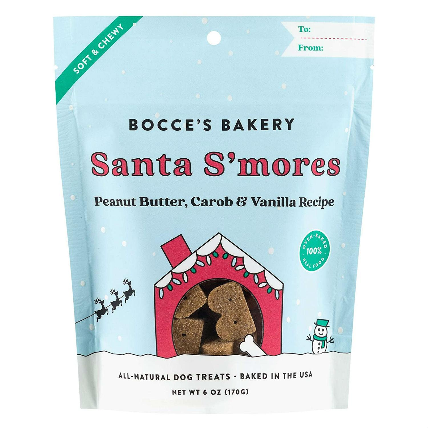 Bocce's Bakery Holiday Santa S'mores Dog Treats - Peanut Butter, Carob & Vanilla