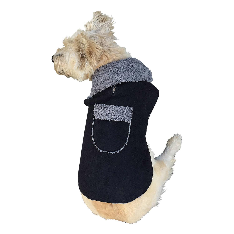 Boho Faux Suede Shearling Dog Coat - Black
