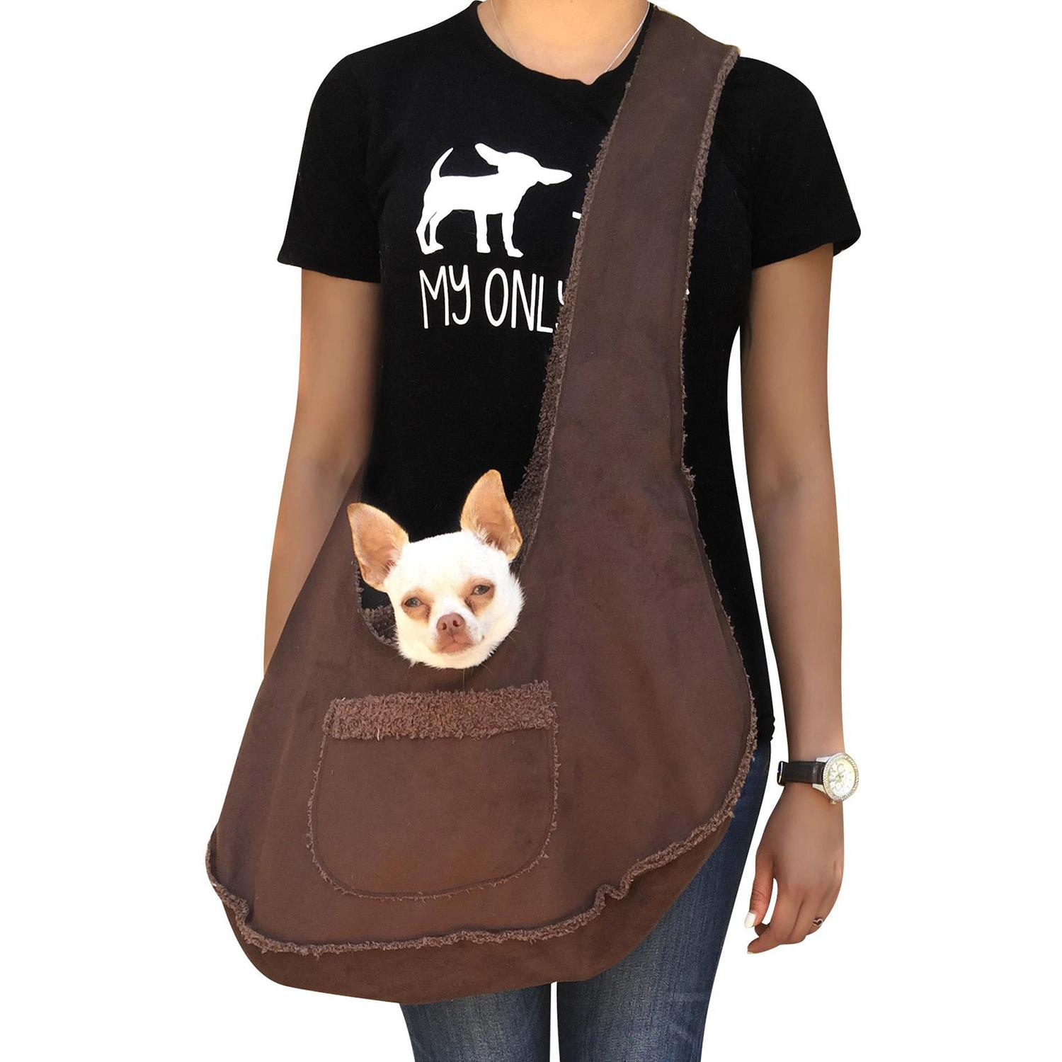 Boho Faux Suede Shearling Dog Sling - Chocolate