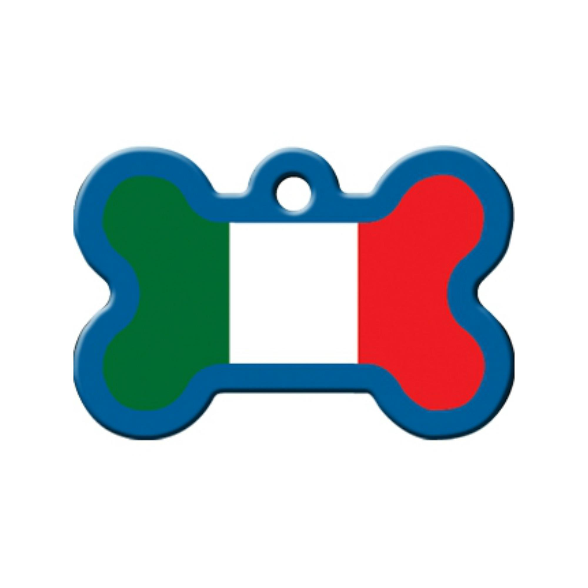 Bone Large Chrome Engravable Pet I.D. Tag - Italian Flag