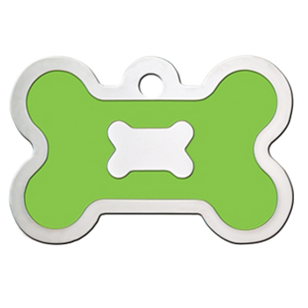 Bone Large Engravable Pet I.D. Tag - Chrome and Neon Green