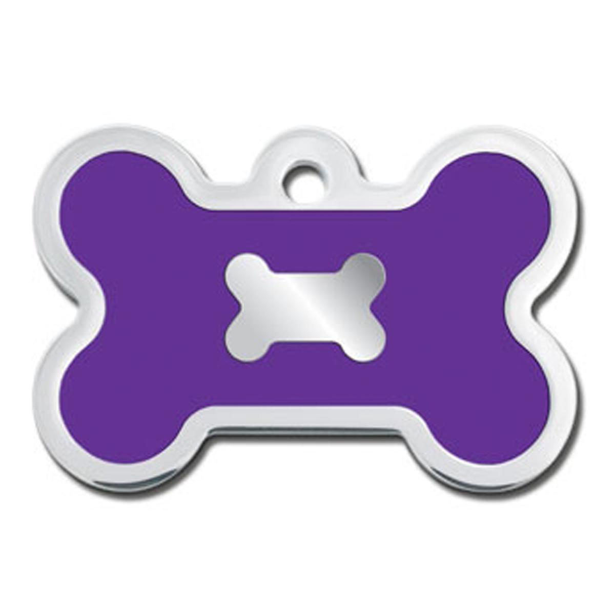 Bone Large Engravable Pet I.D. Tag - Chrome and Purple