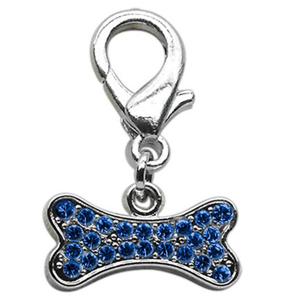 Bone Shaped Crystal Dog Collar Charm - Blue