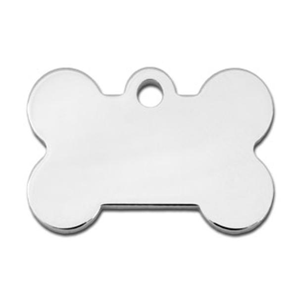 Bone Small Engravable Pet I.D. Tag - Chrome