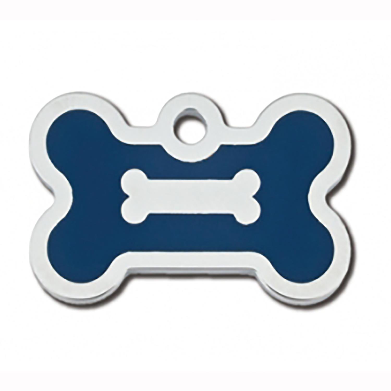 Bone Small Engravable Pet I.D. Tag - Chrome and Navy Blue