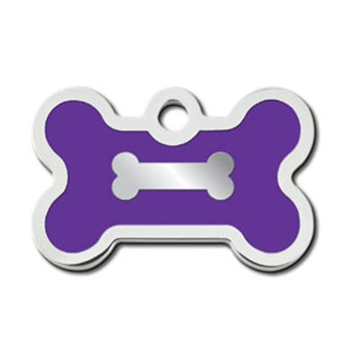 Bone Small Engravable Pet I.D. Tag - Chrome and Purple
