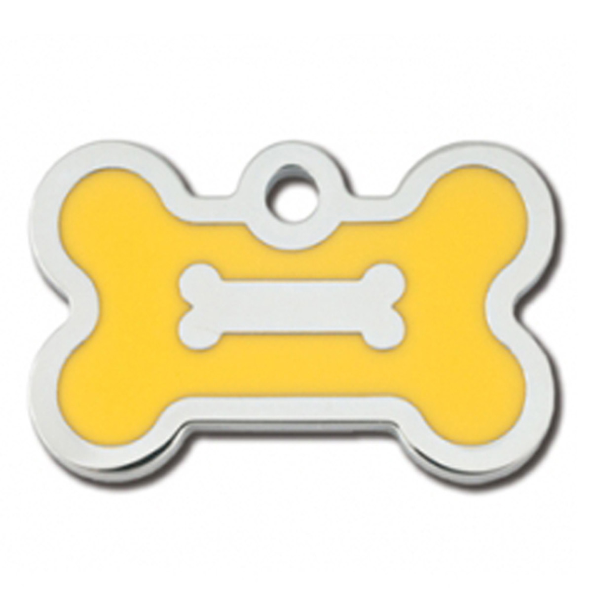 Bone Small Engravable Pet I.D. Tag - Chrome and Yellow