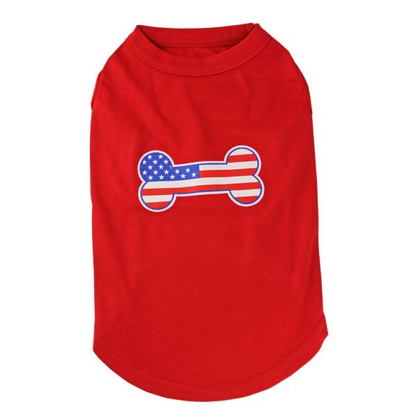 Bone-Shaped American Flag Dog Tank Top - Red
