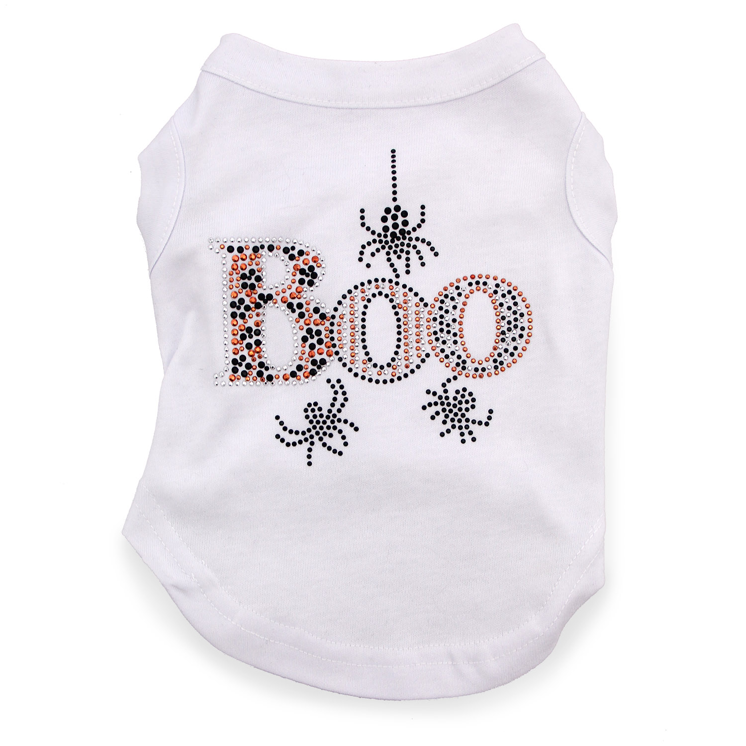 Boo Rhinestone Dog Shirt - White