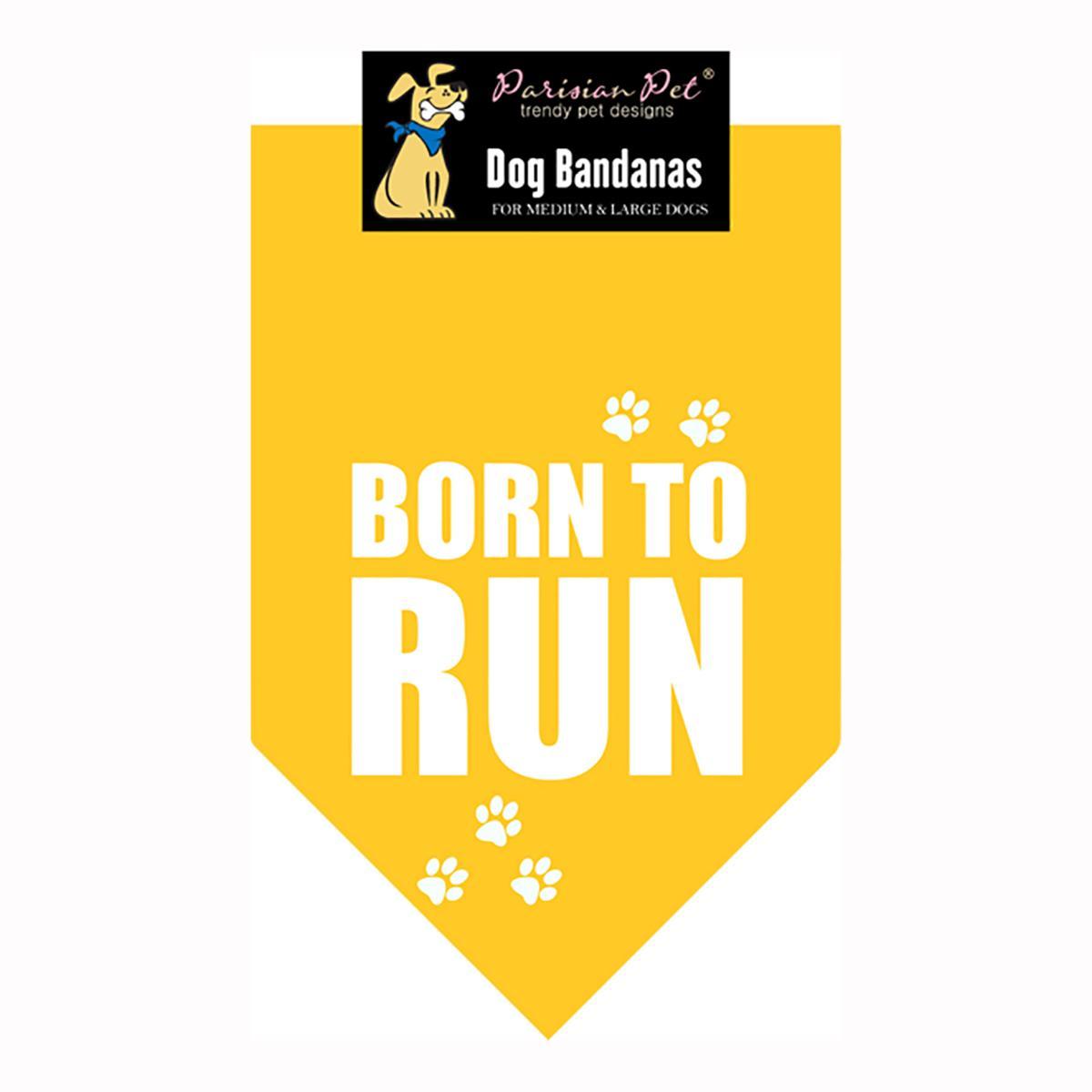 Born To Run Dog Bandana - Yellow