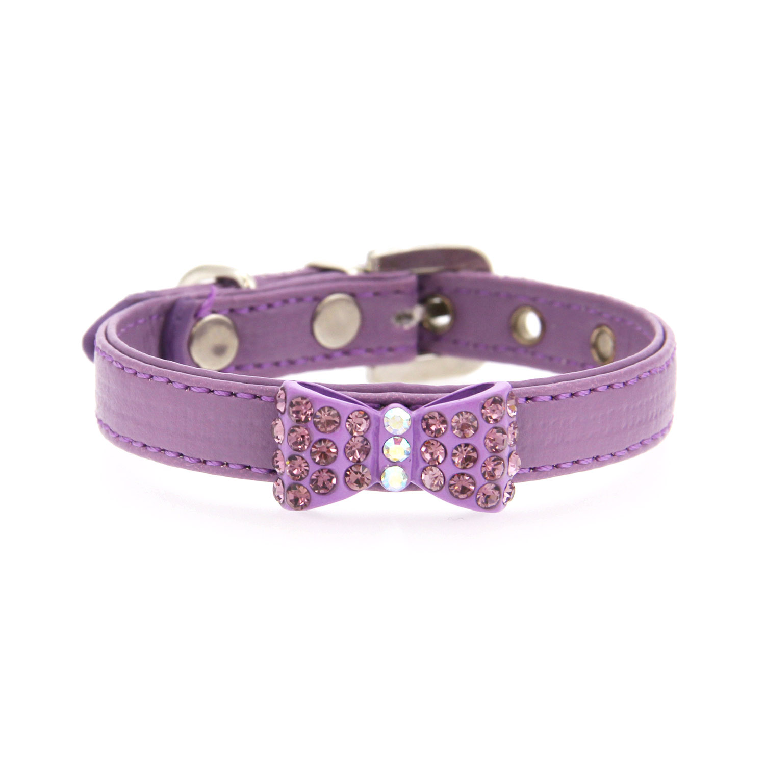 Bow-dacious Crystal Dog Collar - Lavender