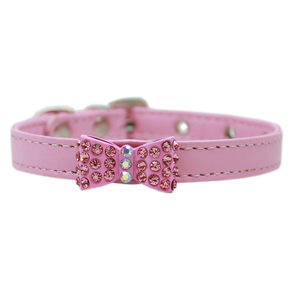 Bow-dacious Crystal Dog Collar - Light Pink