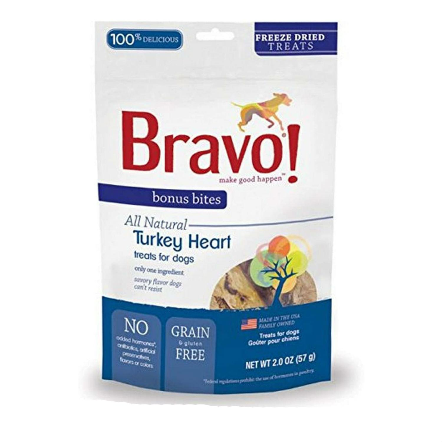 Bravo! Bonus Bites Freeze Dried Dog Treat - Turkey Hearts