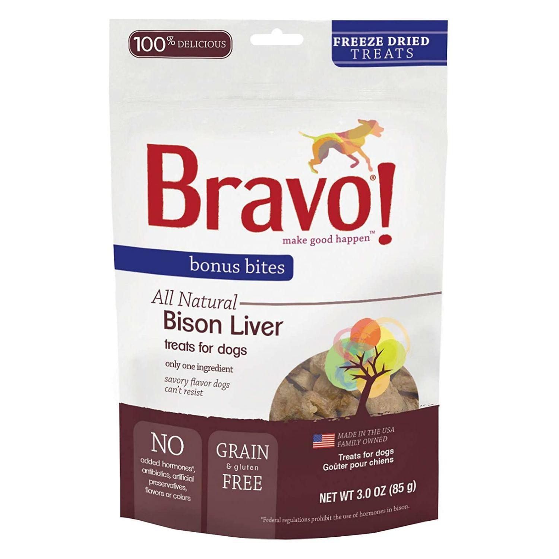 Bravo! Bonus Bites Freeze Dried Dog Treat - Buffalo Livers
