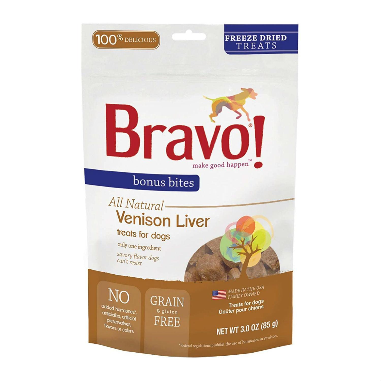Bravo! Bonus Bites Freeze Dried Dog Treat - Venison Liver