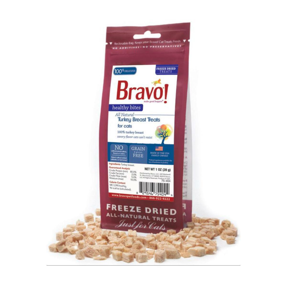 Bravo! Healthy Bites Freeze Dried Cat Treats - Turkey Breast