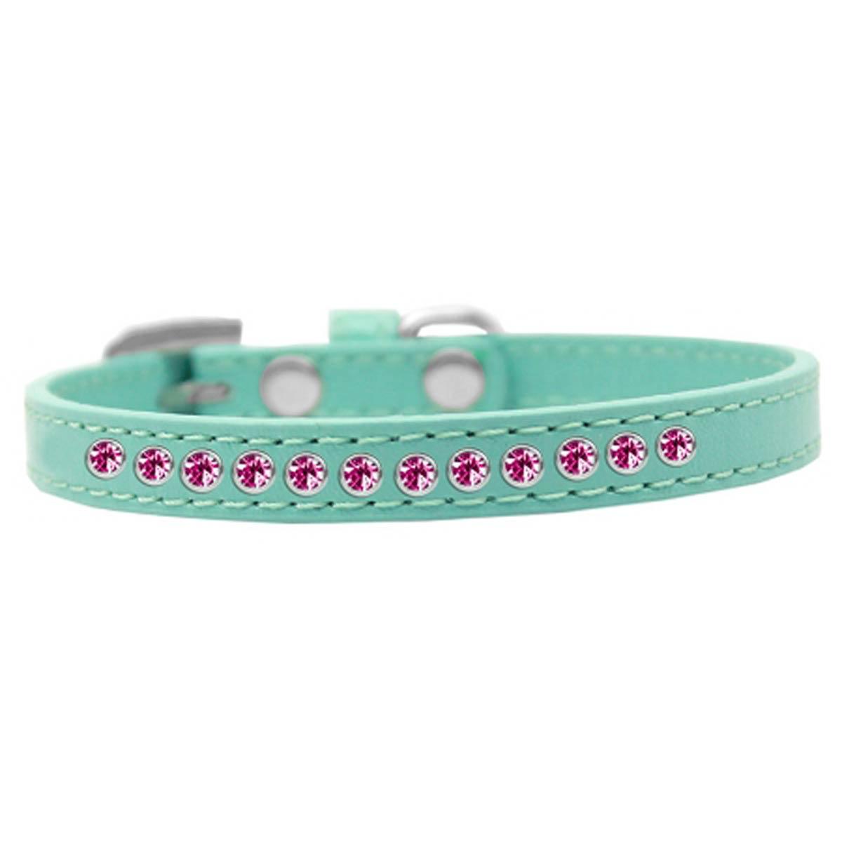Bright Pink Crystal Puppy Aqua Dog Collar