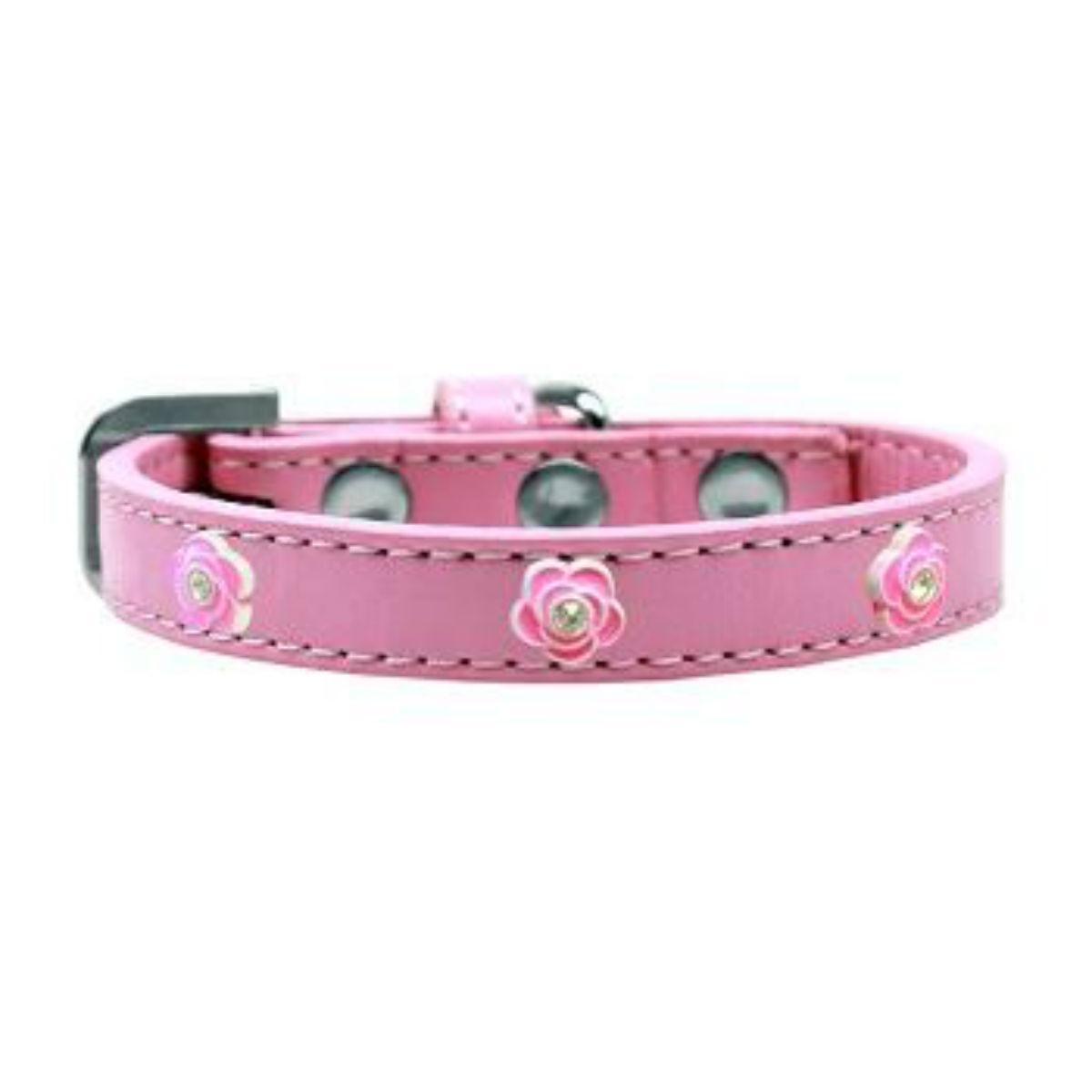 Bright Pink Rose Widget Dog Collar - Light Pink
