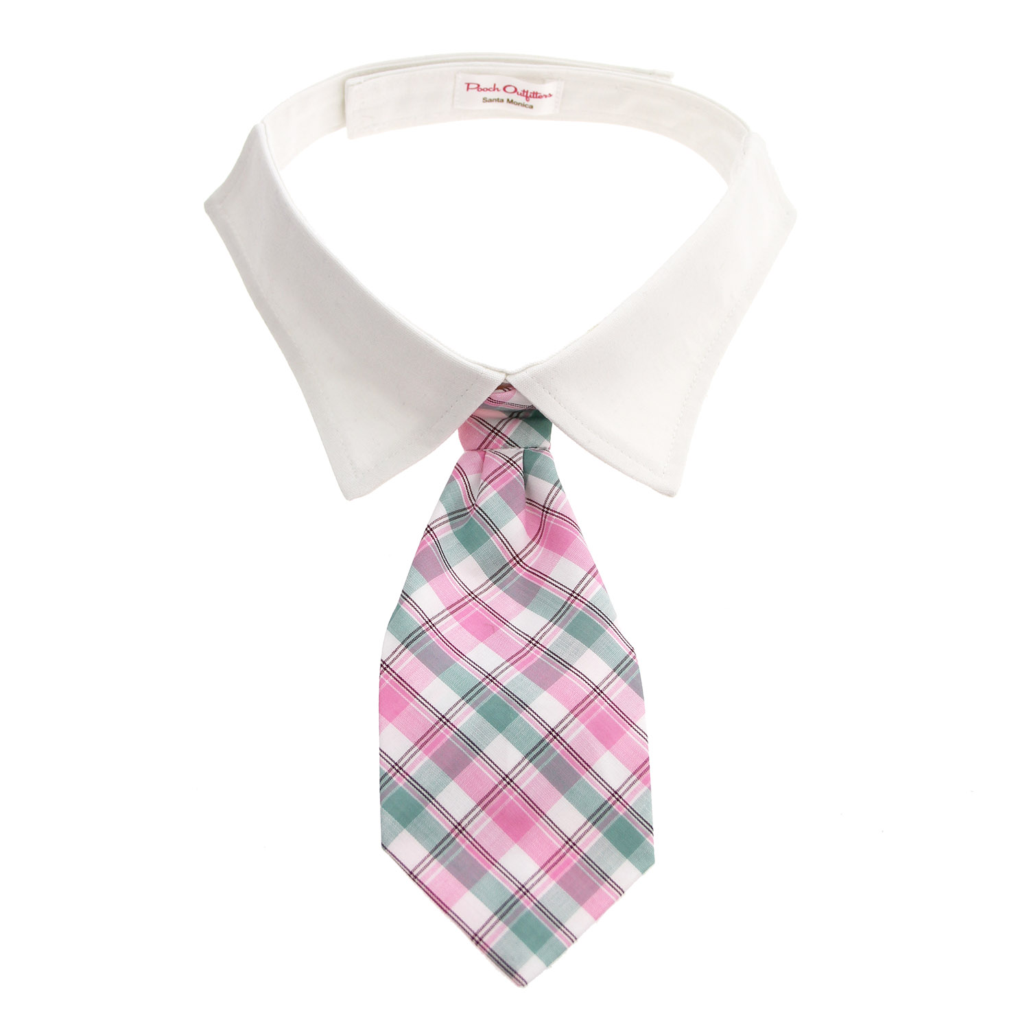 Brooks Dog Shirt Collar and Tie - Pink and Mint Plaid