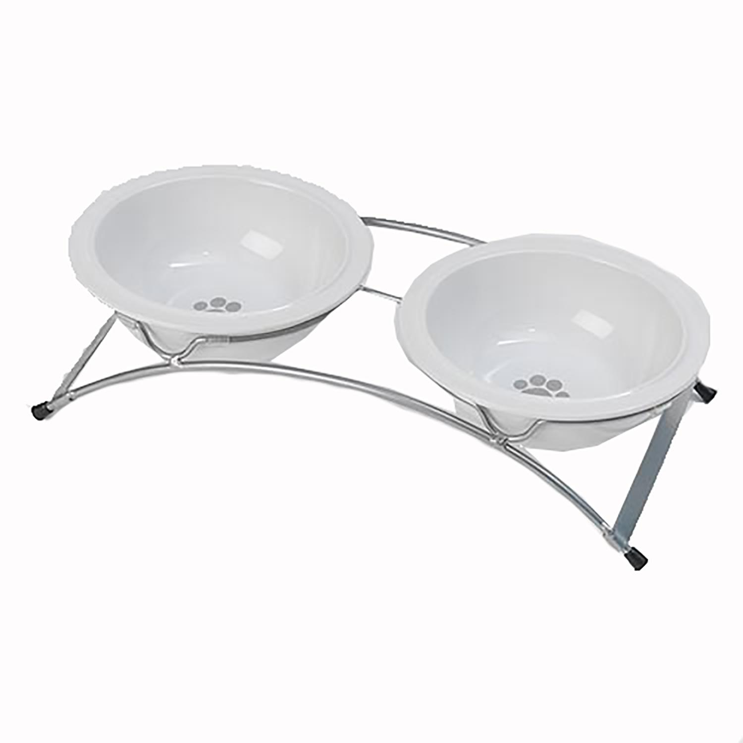 Buddy's Best Feeder Pet Diner Set - White and Silver