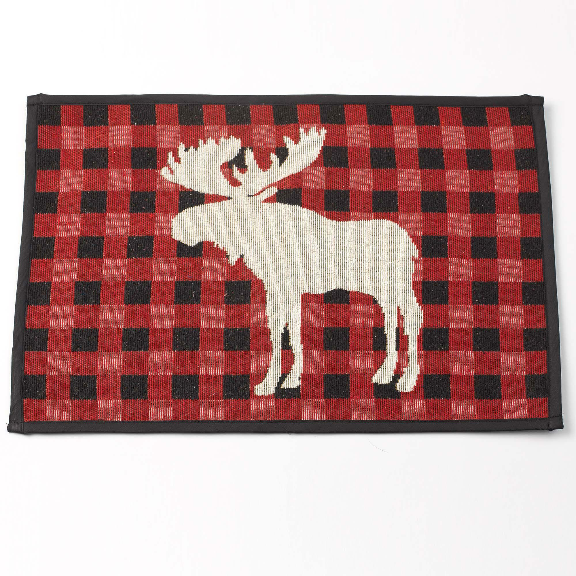 Buffalo Check Moose Tapestry Placemat - Red/Black