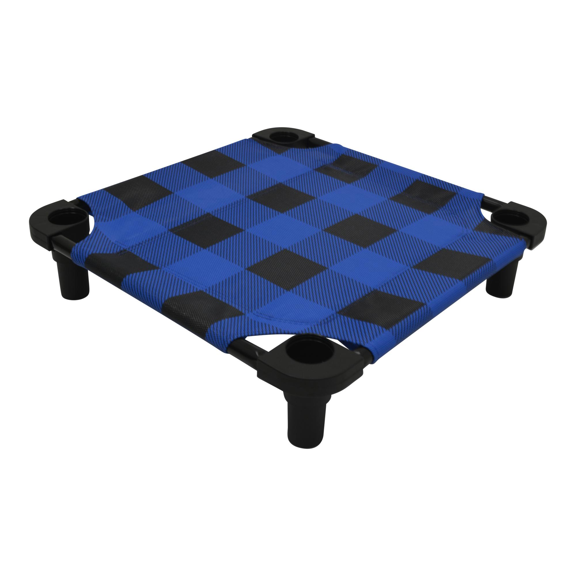 Buffalo Check Premium Weave Dog Cot - Blue and Black