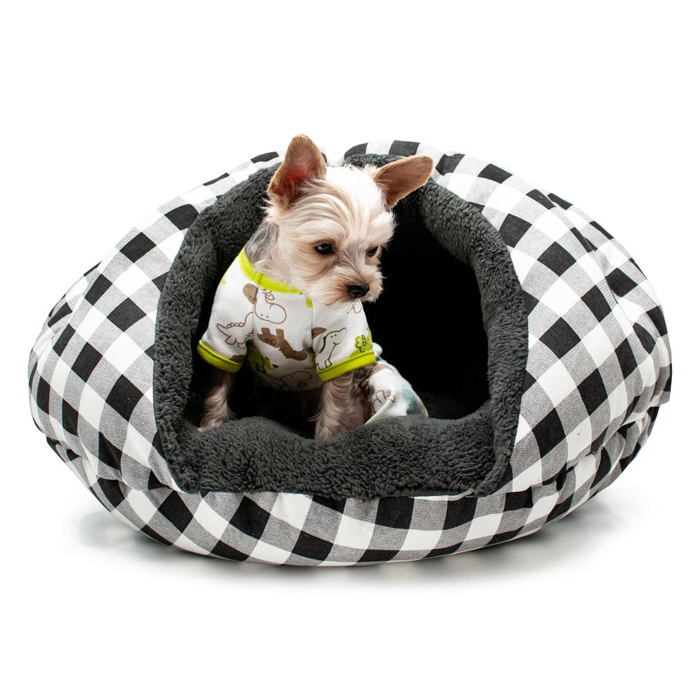 Burger Pet Bed by Dogo - Checkers Black