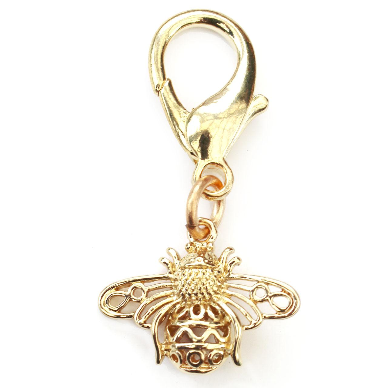 Busy Bee Filigree Dog Collar Charm - Gold