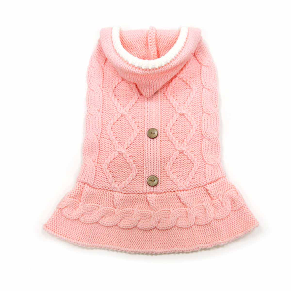 Cable Hoodie Dog Sweater Dress by Dogo - Pink