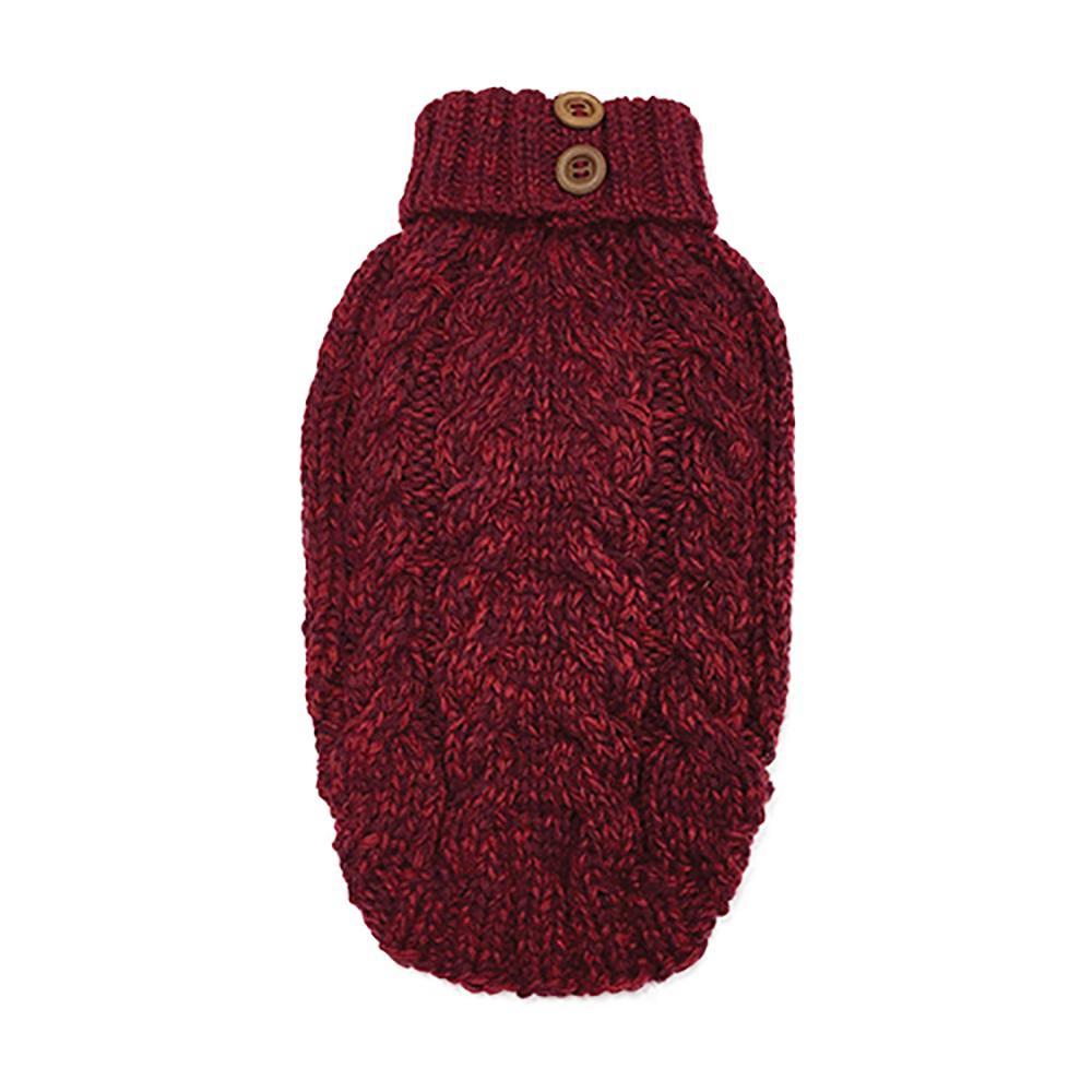 Cable Knit Dog Sweater by foufou Dog - Red